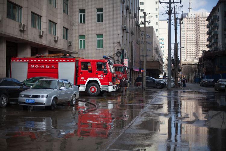 View of fire trucks