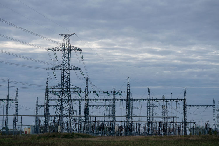 Background Built Structure Cable Cloud - Sky Connection Day Electrical Equipment Electricity  Electricity Pylon Fuel And Power Generation Iron - Metal Land Low Angle View Nature No People Outdoors Power Line  Power Supply Sky Tall - High Technology