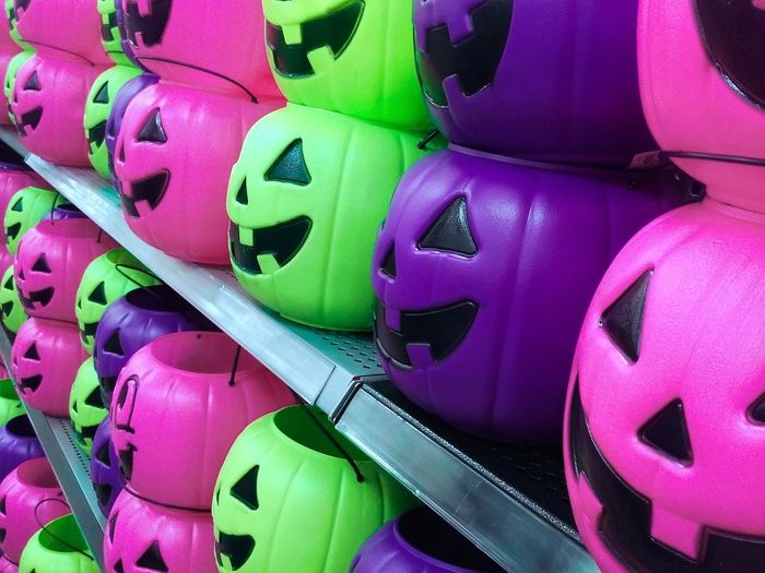 Beautifully Organized No People Large Group Of Objects Purple Pink And Green Plastic Jack O Lantern Colorful