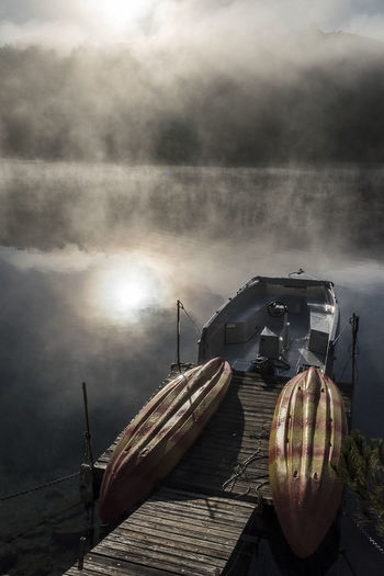 Atmospheric Mood Boats Early Morning Fog Lake Power In Nature