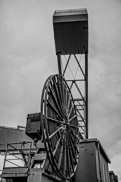 Amusement Park Architecture Big Machines Big Wheel Black And White Built Structure Day Europe Giant Machine History Industrial Industry Iron Low Angle View Man Made Structure Metal Construction No People Outdoors Sky Slovenia Trbovlje Workers Area