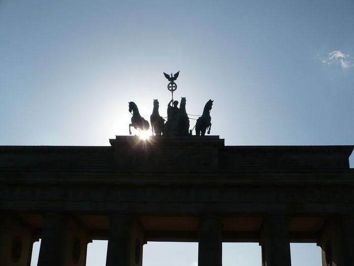 Art Art And Craft Berlin Brandenburg Gate Clear Sky Human Representation Light Sculpture Sun