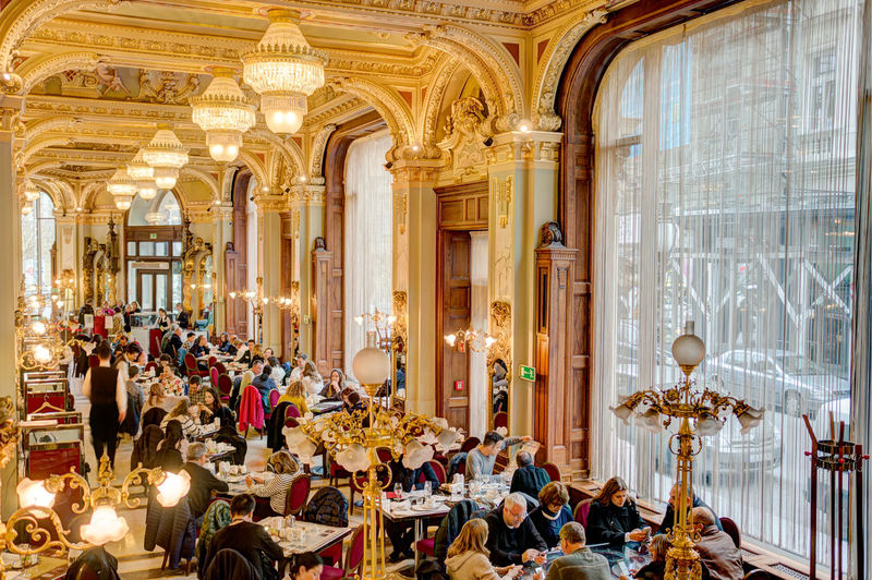 Architectural Column Arrangement Budapest Budapest, Hungary Cafe Corridor Day Electric Lamp Empty Hungary In A Row Interior Luxury New York Cafe No People Ornate Repetition Travel