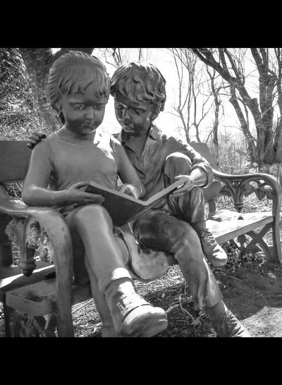 Reading In The Park Children Reading Garden Statues Garden Sculpture  Two People Togetherness Transfer Print Sitting EyeEmNewHere