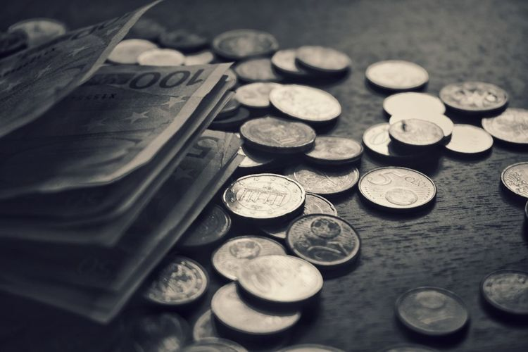 Coin Finance Currency Metal No People Indoors  Close-up Day Savings Wealth Money Text Black And White Collection  Blackandwhite Photography Black And White Blackandwhite A Lot Of Money Reflections Light And Shadow
