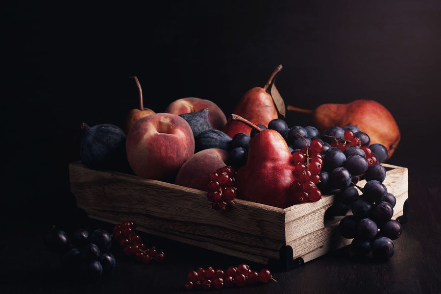 Black Background Close-up Day Food Food And Drink Freshness Fruit Grape Grapes Healthy Eating Indoors  No People Pear Pomegranate Red Still Life Studio Shot Table Wood - Material