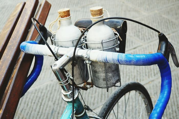 Water? Bicycle Bikers No People Close-up Vintage Retrostyle Retrobike L'eroica Tuscany Olympusinspired Frommypointofview Group Of Objects Olympus Design Style Lifestyle Transportation Bottle Handlebar Blue Enjoying The View