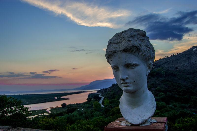 Albania Ancient Civilization Ancient Greece Beauty In Nature Butrint Greek Statue Sarande Statue Sunset Tranquility Ancient Greece Statue Ancient Greek statue in Butrint, Italy