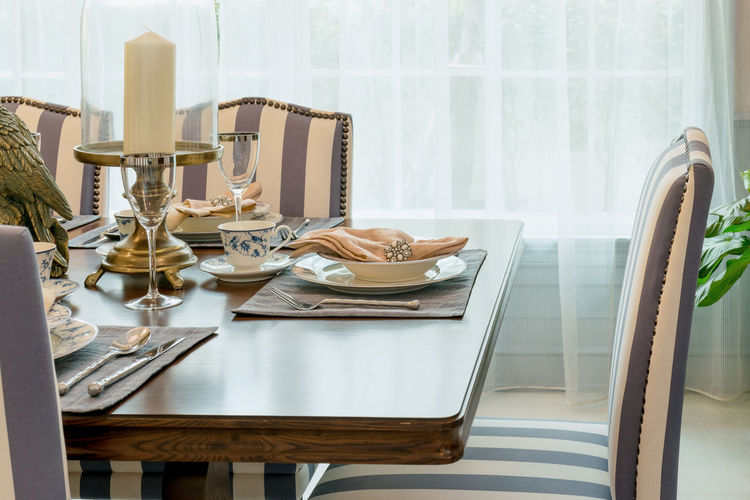 Close-up of place setting at home