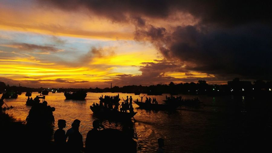 Bijaya Durgapuja River Sky Sunshade Water Sunset Sea Nautical Vessel Silhouette Reflection Dramatic Sky Red Sky Landscape