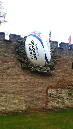 Deceptively Simple Ball In The Wall Cardiff Castle Rugby World Cup 2015 Rwc Rugby Sport Architecture