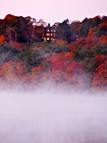 The House On The Hill Autumn In New England Early Morning Fog Over Water Fall Colors Lake View
