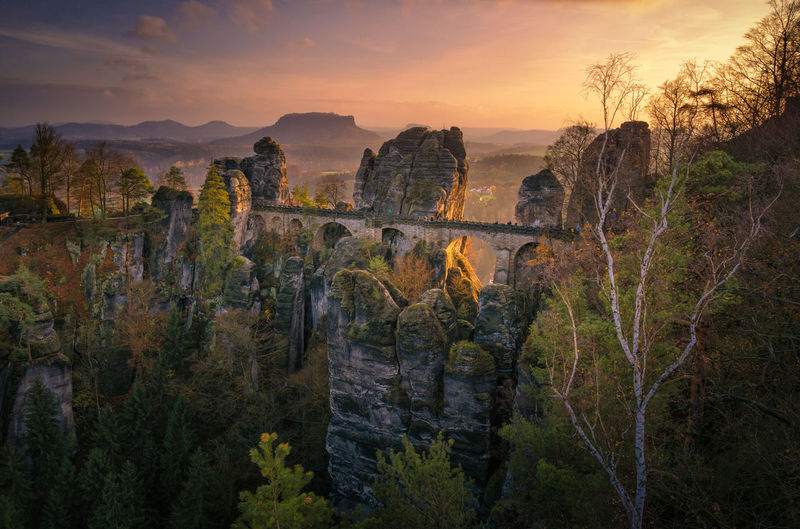 View of rock formations at sunset