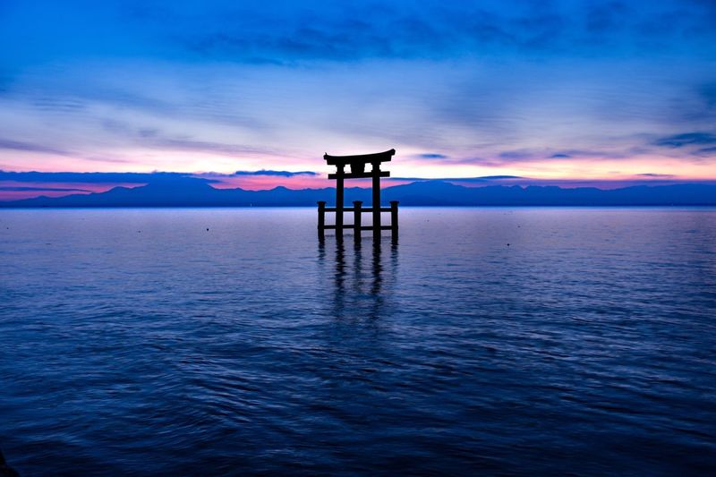 """"""" Blue World """" Sky Beauty In Nature Nature Water Sea Tranquil Scene Scenics Blue Idyllic Sunset Cloud - Sky Tranquility Waterfront Outdoors No People Horizon Over Water Day EyeEm Nature Lover Lake Nikon Nikon D7200 Nikonphotography Japan Photography Japanese Shrine"""