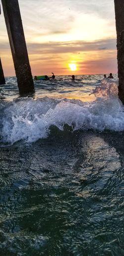 Water Wave Sea Sunset Beach Sky Horizon Over Water Rushing Surf Crashing Power In Nature Seascape