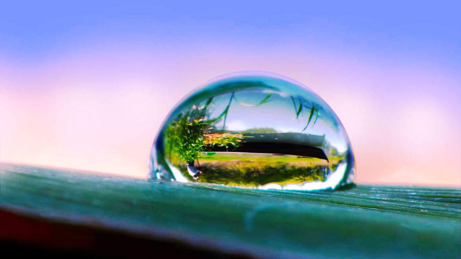 Dew Dew Nature Photography Water Reflections Panorama Secret Of Nature Eyesight Sunset Refraction Planet Earth Reflection Water Multi Colored Futuristic Bubble Sky