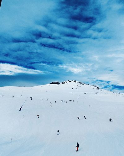 Encamp Sky Cloud - Sky Nature Large Group Of People Bird Beauty In Nature Outdoors Day People Ski Snowboarding Mountain
