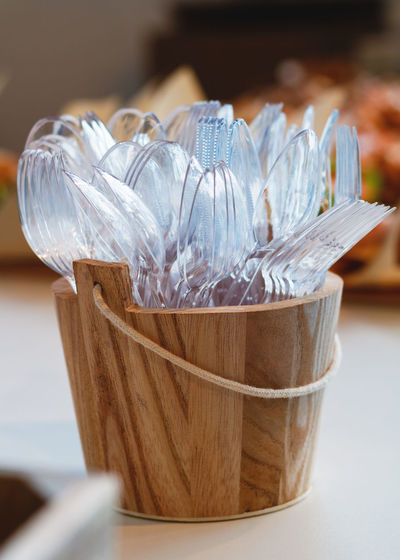 Close-up of forks and spoon on table
