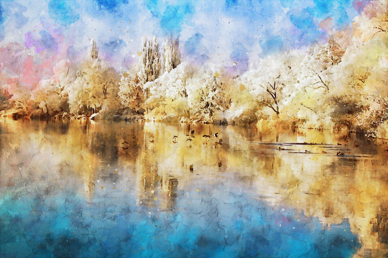 Digital composite image of lake and trees against sky