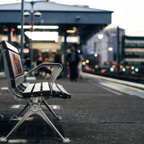 Fine Art Photography Chair Sydney Sydney, Australia Milsons Point Train Station Station Sunset Sunset_collection Bokeh Bokeh Photography Bokehlicious Bokeh Lights Taking Photos EyeEm Gallery EyeEm Best Shots Working Home Time Loneliness Solitude Solitary Solitary Moments On The Way Showcase July Eyeemphoto