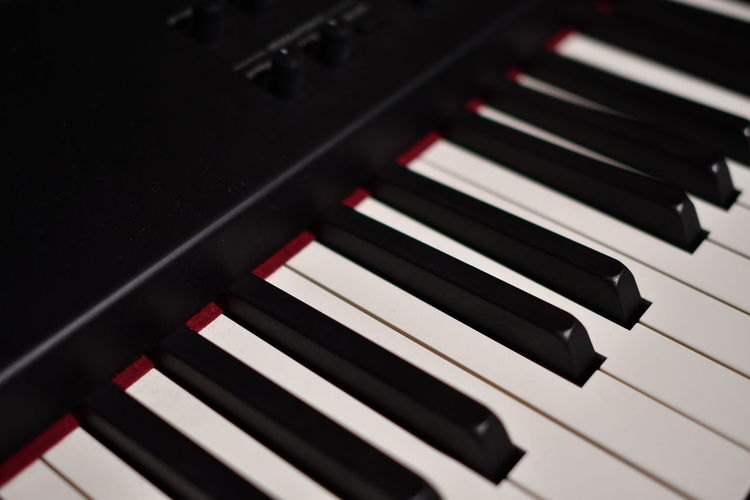 High angle view of piano keys