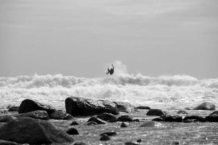 View of a man surfing in the sea