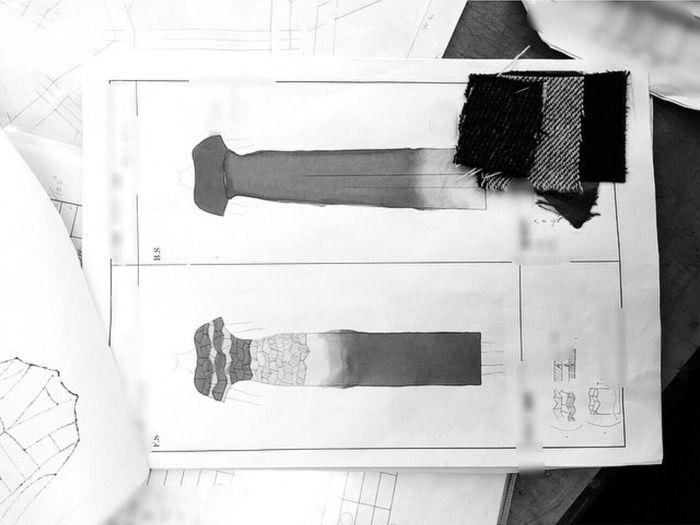 Trompeloeil Fall Winter Dress Wool Gray Design Fashion Student TBT