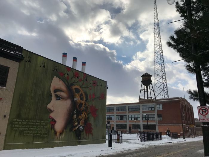 Mural Art Watertank Industrial Photography Industrial Landscapes Christmas Atmosphere Christmastime Urbanphotography DetroitMichigan IPhone7Plus IPhoneography Detroit Sky Day Outdoors City Low Angle View