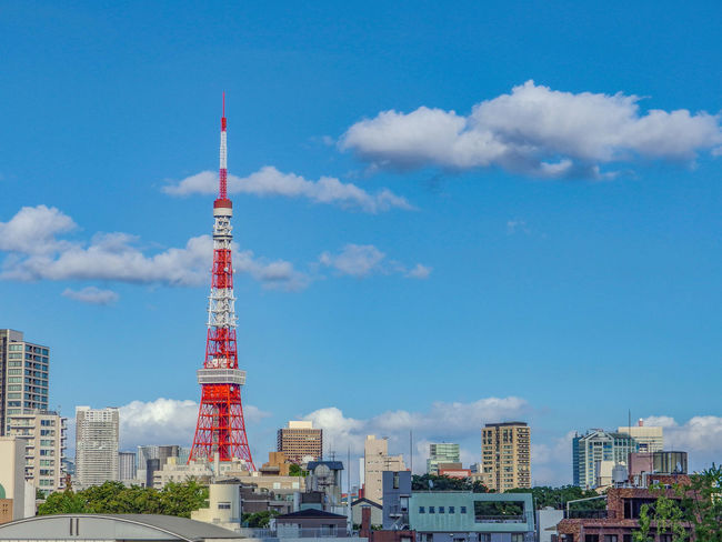 tokyo tower on sunny day and clear blue sky Architecture Built Structure Building Exterior City Tower Building Sky Tall - High Travel Destinations Skyscraper Travel Office Building Exterior Day No People Tourism Cloud - Sky Nature Blue Outdoors Cityscape Global Communications Spire  Tokyotower Landscape Landmark