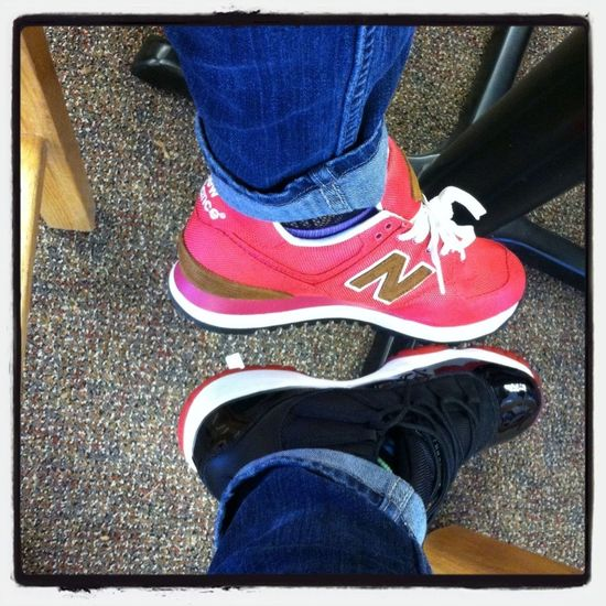 I had on my shoe and Abdul shoe lmao !! Mines pink -