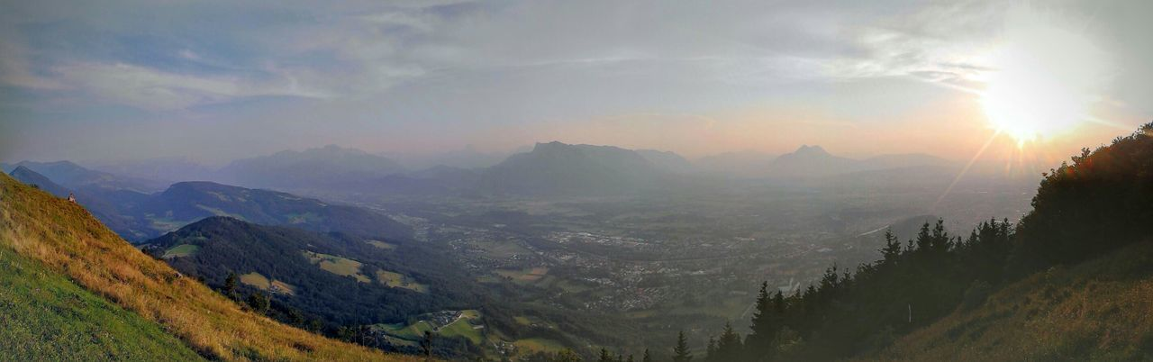 SalzburgerLand Landscape Enjoying The View Panoramic View Autumn Mist Foggy Morning Mountains And Sky Mountains From Above  Pano