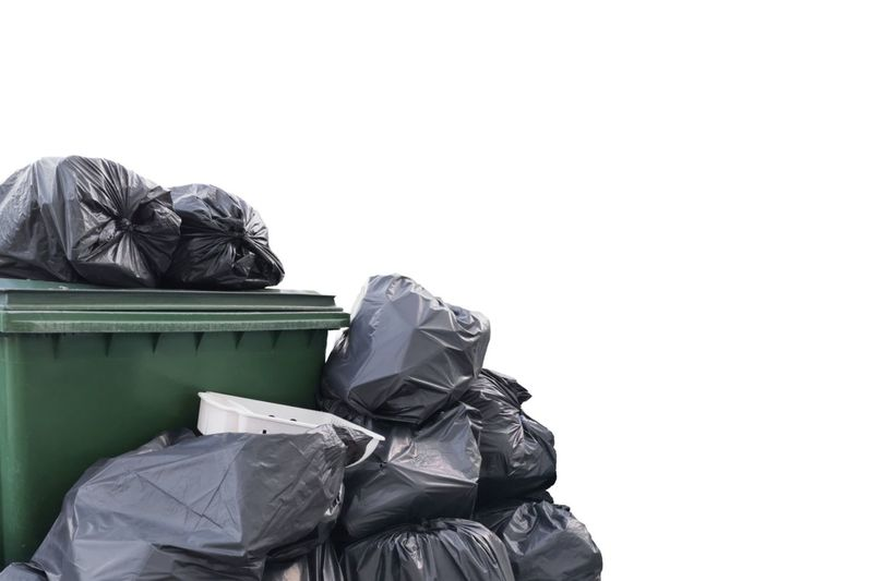 Close-up of garbage against white background