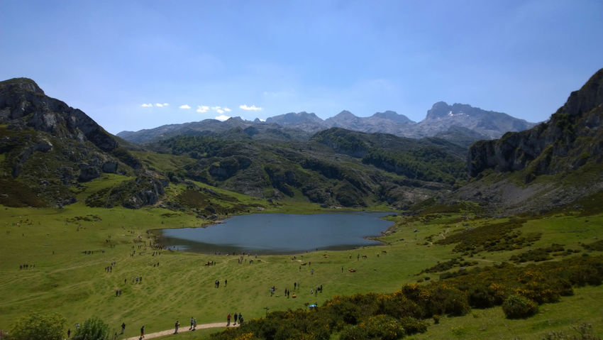 View of Lake Ercina in Lakes of Covadonga, Asturias - Spain Asturias Blue Covadonga Ercina Lago Ercina Lagos De Covadonga Lake Lakes  Landscape Mountain Nature Outdoors Peak Picos De Europa Picturesque Rural Scenics Sightseeing SPAIN Tourism Tranquil Scene Travel Travel Destinations Vacations Water
