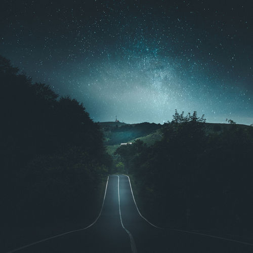 Monti Lessini Astronomy Beauty In Nature Galaxy Landscape Mountain Nature Night No People Outdoors Road Scenics Sky Star - Space The Way Forward Tranquility Tree