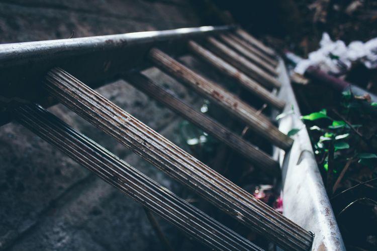 Close-up of metal ladder