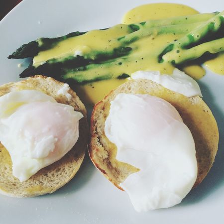 Hmmm. Asparagus Poachedeggs EnglishMuffin Hollandaise Goodfood Homecooking