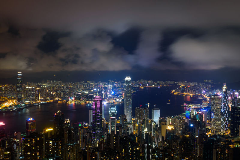 Night Cityscape Illuminated City Skyscraper Business Finance And Industry Sky Awe Built Structure Landscape Multi Colored Horizon Travel Destinations Hong Kong Hong Kong Skyline