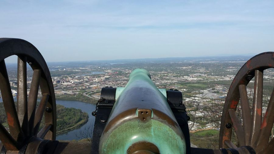 Outdoors No People Close-up Weapon Cannons Lookout Mountain Landscape City Of Chattanooga Below.
