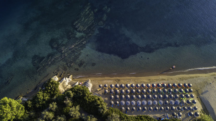 High angle view of umbrella on the beach