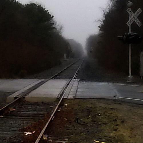 Hello World Railroad Track Railway Rail Transportation Railroad Tracks Railroad Crossing Railway_nerds Railfans_of_instagram Foggy Morning