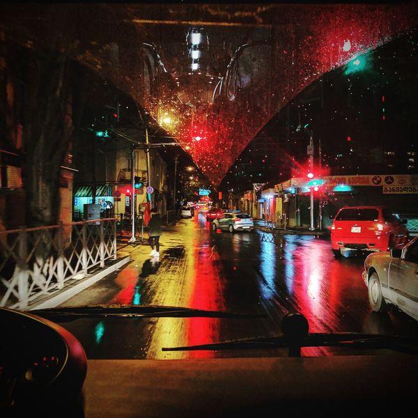 Urban transportation chronicles. Night Illuminated City Urban Georgia Tbilisi Night Tbilisi Outdoors Rainy Night