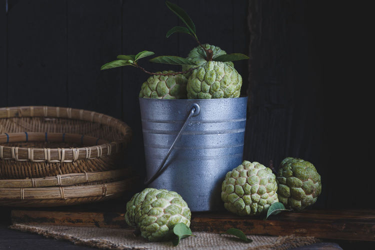 Custard Apples In Bucket On Wooden Table
