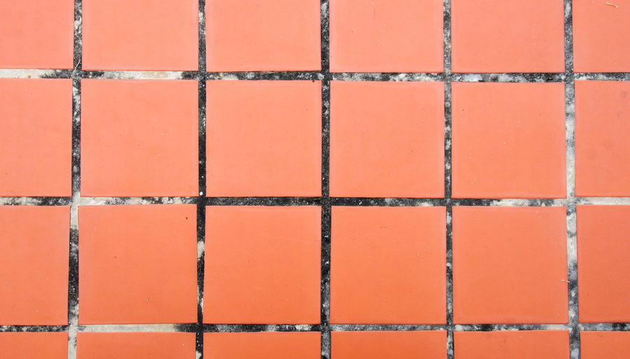 Old orange tiled floor Flooring Grid Nature Orange Red Square Textured  Wall Abstract Architecture Backdrop Backgrounds Brown Ceramic Clay Close-up Day Design Floor No People Orange Color Pattern Rough Textured  Tile