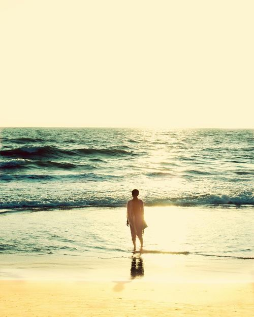 Horizons beyond lies by true destination. Alone Sea Ocean Tranquility In The Distance FarOff Destination Blue Nonsaturated Kerala India Sun Shadows Beauty Beauty In Nature Woman Staring