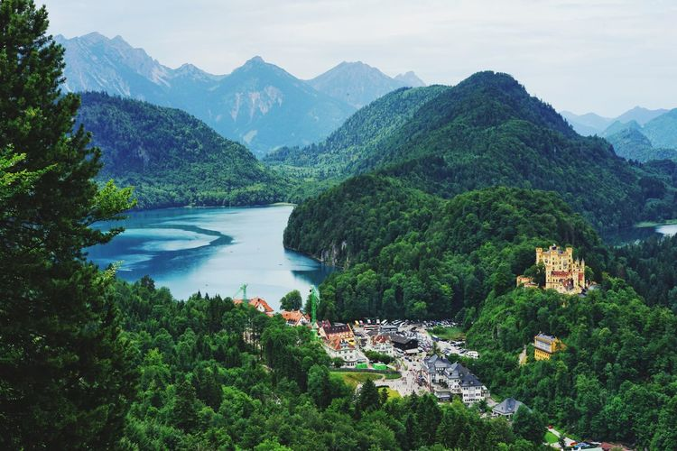 Mountain Scenics Nature Beauty In Nature Tree Tranquil Scene Tranquility Water Mountain Range Sky High Angle View Idyllic Day Outdoors River Growth No People Landscape Green Color Travel Destinations Germany Castle Füssen Hohenschwangau