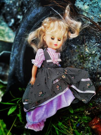 Close-up of doll on rock