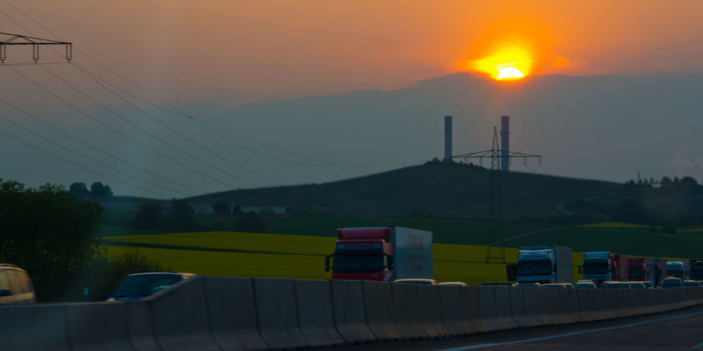 Autobahn Cable Landscape MeinAutomoment Sky Sunset Traffic Trucks