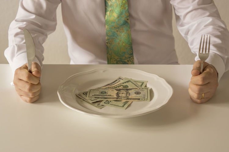GREED Greenback Man Rich Suit Business Finance And Industry Cuttlery Dollars Money Plate Tie Wealth