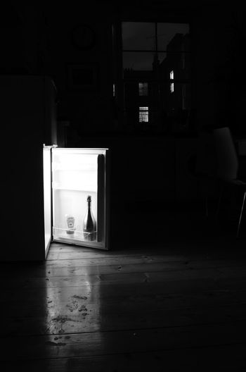 Champagne Courtyard  Fridge Home Interior Kitchen Light And Shadow Prosecco Sauce Blackandwhite Photography Black And White Photography Kitchen Life Nightphotography Illuminated Fridge Door Open Fridge Celebration Champagne Lover Chilled