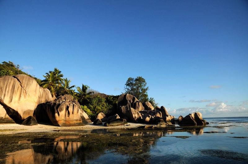 Beautiful beach of anse source d'argent, la digue island, seychelles